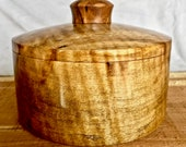Quilted Maple Lidded Pot Keepsake Box Stash Pot Salt Box Perfect Gift To Store Trinkets, Coins, Jewelry, Office Items, etc