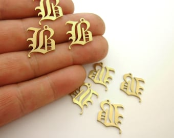 30pcs Old English Gothic Silver Initial Charms Initial Bracelets X Connectors For Business Personalized Jewelry Factory Supplier Custom