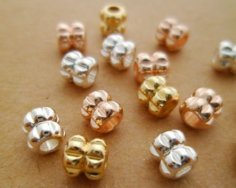 """Unique Handmade* 15pcs DAINTY 14K Gold, Silver & Rose Gold """"LUCK"""" Spiritual Energy Beads Wedding Or Gifts Brass 5x3mm"""