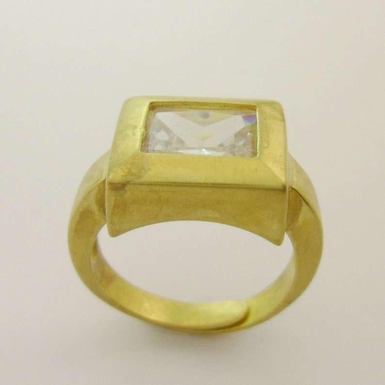 Small Investment Big Profit Unique for Designers Small Business Factory Custom 50pcs Brass Rectangle Minimal Stone Setting Ring Adjustable