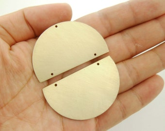 Handmade* 1 Pair Half Circle Brass Pendants Connectors Earring Drop / Blanks Geometry Minimal Paint Stamping Gold Tone for Crafter 2000-0006