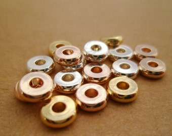 20pcs Delicate Cute Gold, Silver & Rose Gold Round Rondelle Disc Spacer Beads Tarnish Resistant Brass 6x2mm Wedding Or Gifts 01010617-(123)