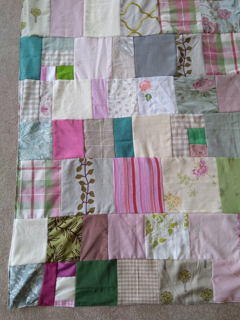 Single bed size Quilt Wonky Upcycled Shabby Chic  Unique Quilts of Anarchy No straight lines