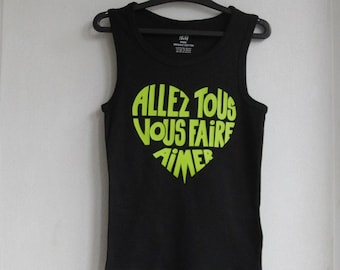 """Kids tank top black """"will make you all love"""" Apple green / very bright - size 4-6 years / 110-116"""
