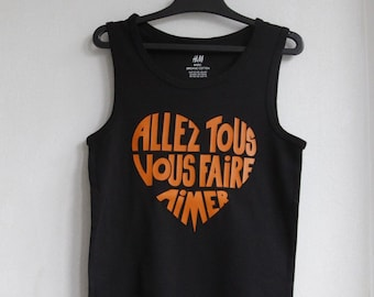 "Kids tank top black ""will make you all love"" calligram funky Orange / 70 s - size 6-8 years / 122-128 cm"