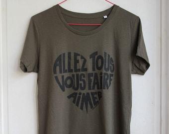 Woman t-shirt, Nude written in funky orange, Allez tous vous faire aimer! Size S