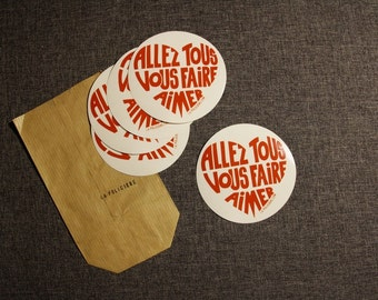 """Decals/Stickers """"will make you all love"""" red on a TRANSPARENT background! Bag of 15 stickers"""