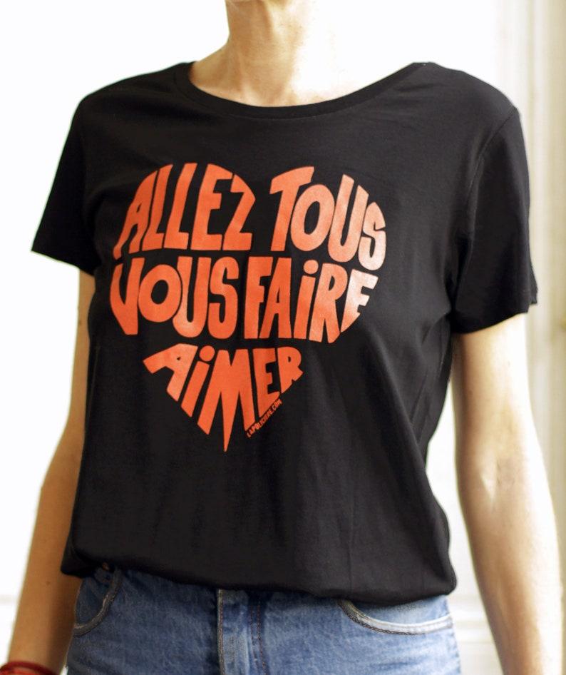 T-shirt woman Black Go all make you love Calligram image 0