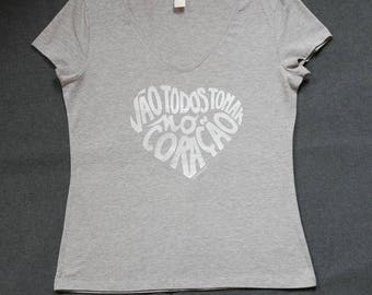 """t-shirt Femme gris chiné calligramme """"Will all have"""" argenté, taille L-woman Shirt size L"""