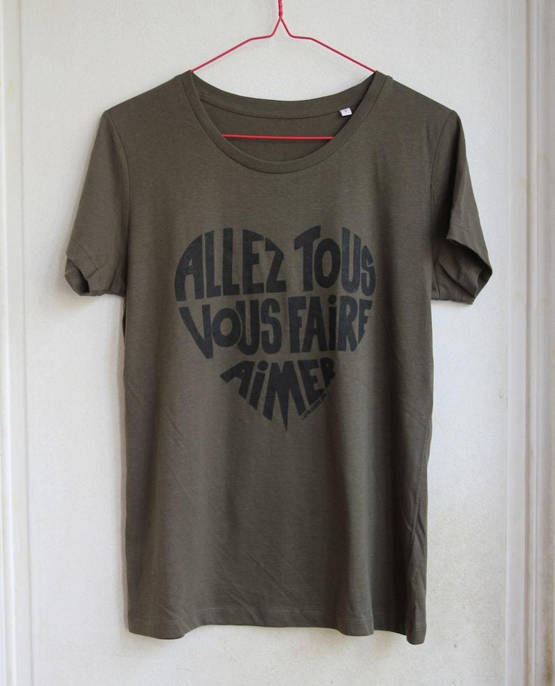 Woman t-shirt Nude written in funky orange Allez tous vous image 0
