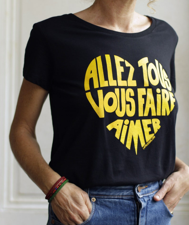 T-shirt woman Dark black Go all make you love image 0