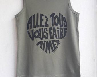 "Khaki child tank top ""Go all make you love"" black calligram - Size 4/6 years"