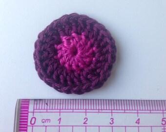 Rosette plum and pink crocheted flower