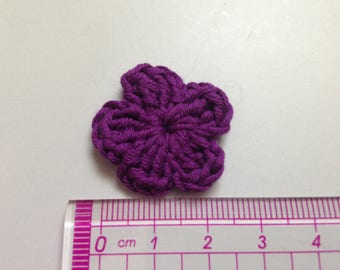 your purple cotton and crochet flower
