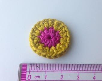 Rosette flower mustard yellow and pink crochet