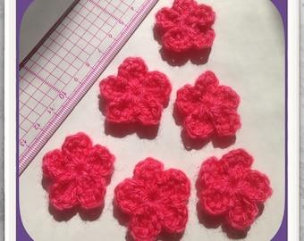 Set of 6 flowers crochet grenadine