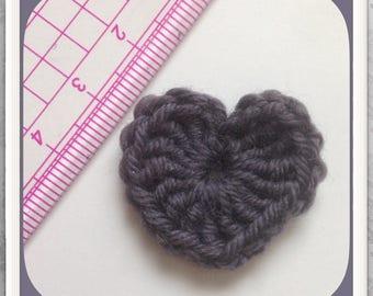 Set of 5 hearts grey crochet