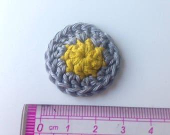 Rosette flower mustard yellow and grey crochet