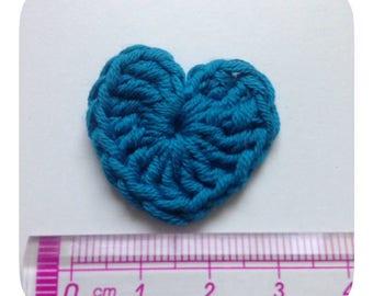 Set of 5 hearts turquoise crochet
