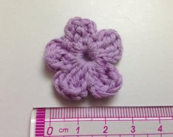 Purple cotton and crochet flower