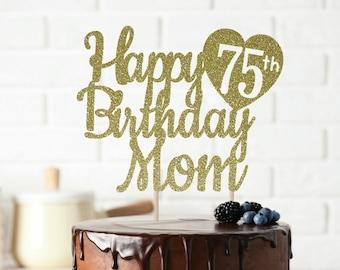 ANY NAME Happy 75th Birthday Cake Topper Custom Party Decor 75