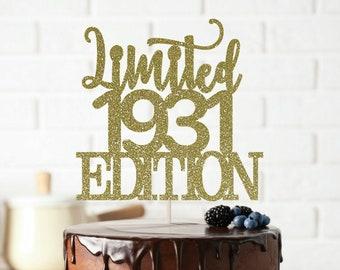 40th Birthday Cake Topper-Quarante 40 /& Fabulous Topper-paillettes bleu foncé