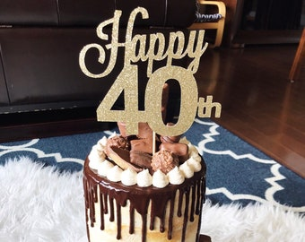 ANY NUMBER 40th Birthday Cake Topper Happy 40 Years Loved Fabulous