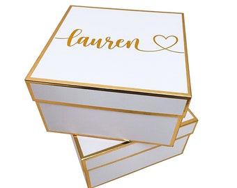 Personalized Bridesmaid Box   Personalized Box   Will You Be My Bridesmaid Box   Pink Gift Box   White Gift Box   Maid of Honour Box