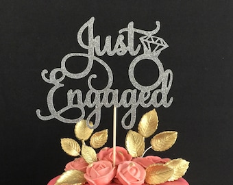 Just Engaged Cake Topper, We're Engaged Cake Topper, Bridal Shower Cake Topper, Engagement AF Cake Topper, Engagement Cake Topper