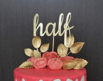 1 2 Cake Topper Half 6 Months Birthday Decor Happy