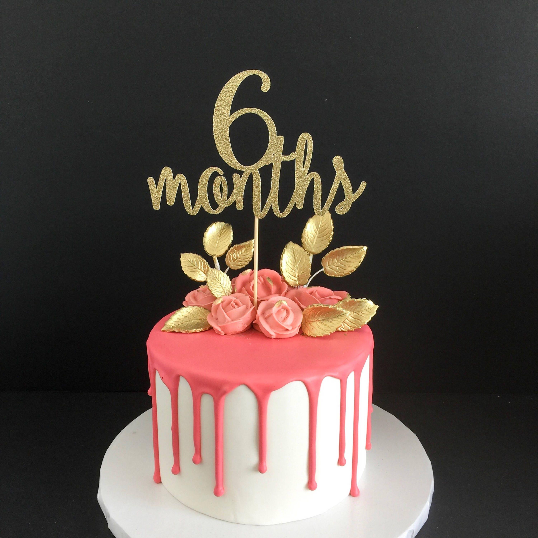 Gold Glitter 6 Months Birthday Cake Topper Half