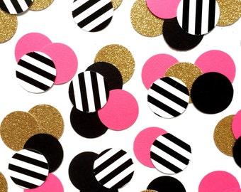 Fuchsia, Black, Black&White Stripe, Gold Glitter Party Confetti, Birthday Confetti, Bridal Shower Decor, Table Confetti, Wedding