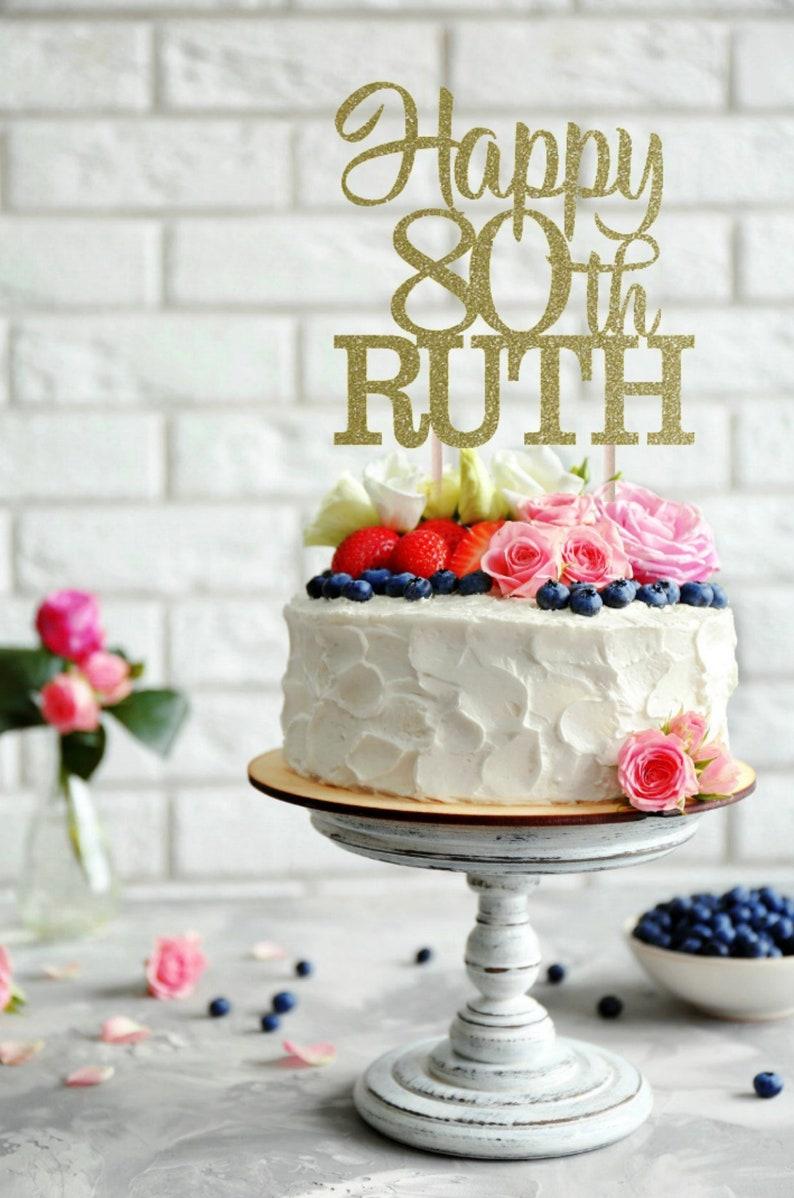ANY NAME Happy 80th Birthday Cake Topper