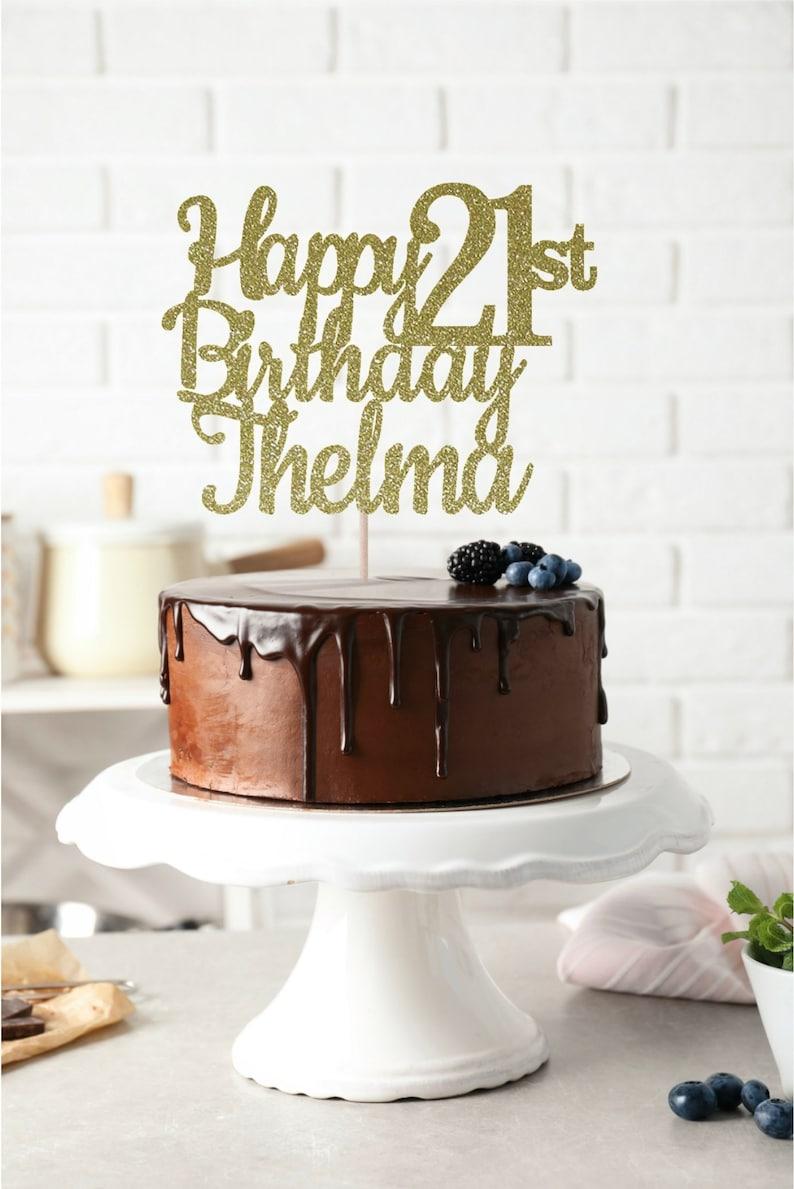 ANY NAME Happy 21st Birthday Cake Topper