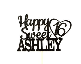 Any Name Happy Sweet 16 Birthday Cake Topper, 16th Birthday Cake Topper, Sweet Sixteen, Happy 16th Birthday, Birthday Cake Topper