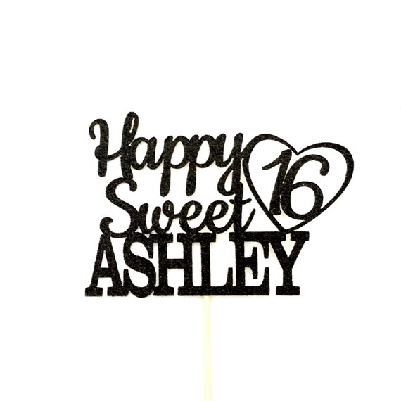 any name happy sweet 16 birthday cake topper 16th birthday etsy Black and Gold Birthday Table image