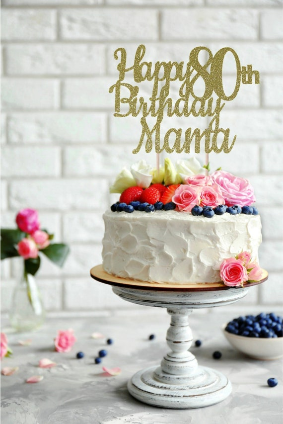 Magnificent Any Name Happy 80Th Birthday Cake Topper Birthday Cake Etsy Funny Birthday Cards Online Alyptdamsfinfo