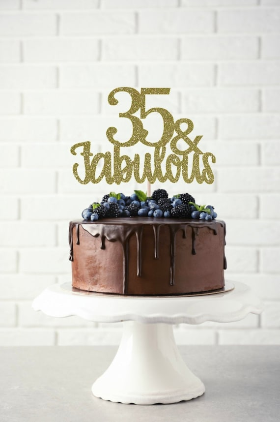 Pleasing 35 And Fabulous Cake Topper Birthday Cake Topper Happy 35Th Etsy Personalised Birthday Cards Sponlily Jamesorg