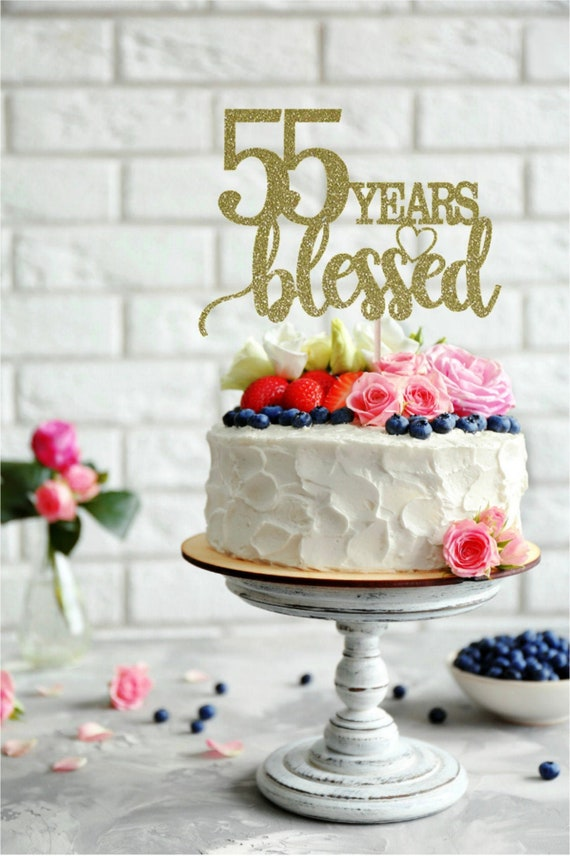 Peachy 55 Years Blessed Cake Topper 55Th Birthday Cake Topper Happy Etsy Funny Birthday Cards Online Inifofree Goldxyz