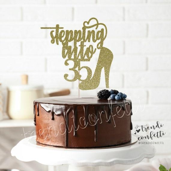 Incredible Stepping Into 35 Cake Topper Birthday Cake Topper Happy 35Th Etsy Funny Birthday Cards Online Hetedamsfinfo