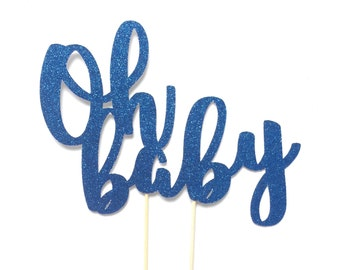 Oh Baby Cake Topper, Baby Shower Cake Topper, Gender Reveal Decor, Baby Boy Cake Topper, Baby Girl Cake Topper, Gold Glitter