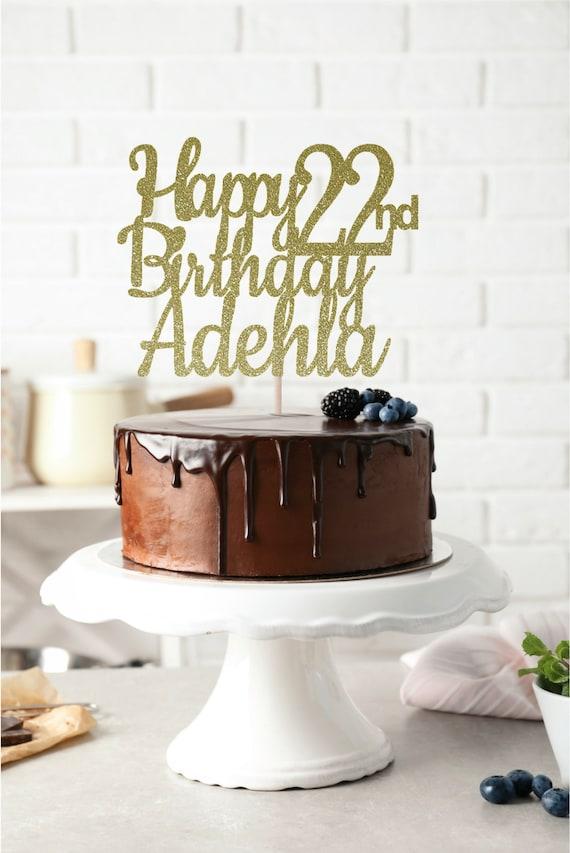 Brilliant Any Name Happy 22Nd Birthday Cake Topper 22Nd Birthday Etsy Personalised Birthday Cards Akebfashionlily Jamesorg