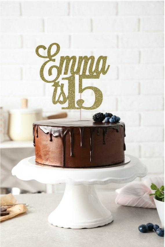 Pleasant Any Name 15Th Birthday Cake Topper 15Th Birthday Cake Topper Etsy Funny Birthday Cards Online Elaedamsfinfo