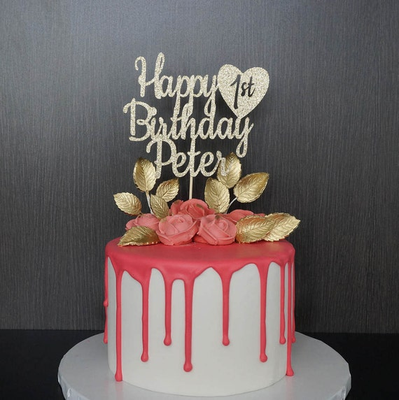 Stupendous Any Name Any Age Happy Birthday Cake Topper Birthday Cake Etsy Funny Birthday Cards Online Hetedamsfinfo