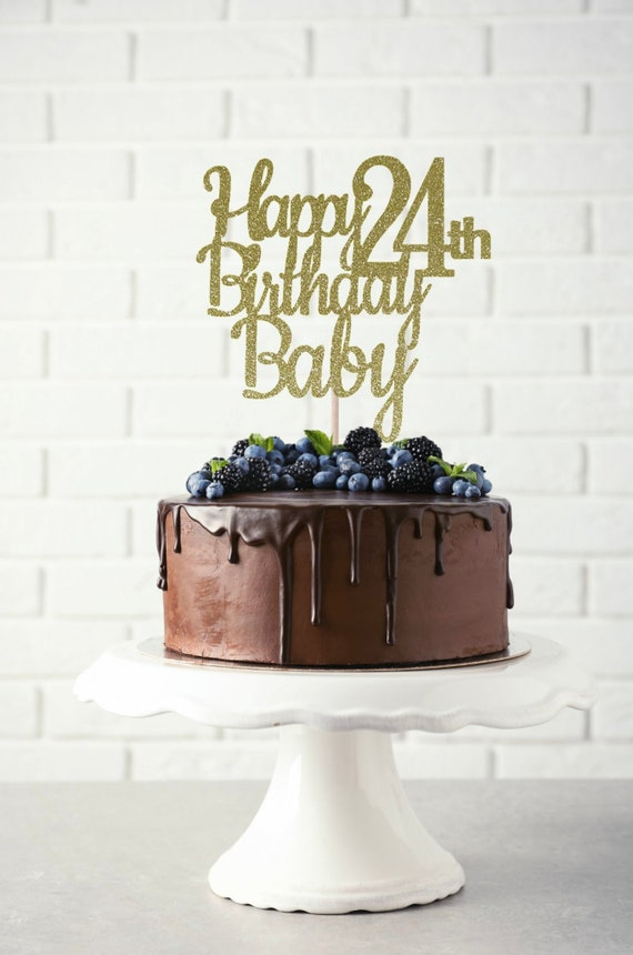 Outstanding Any Name Happy 24Th Birthday Cake Topper Birthday Cake Etsy Personalised Birthday Cards Veneteletsinfo