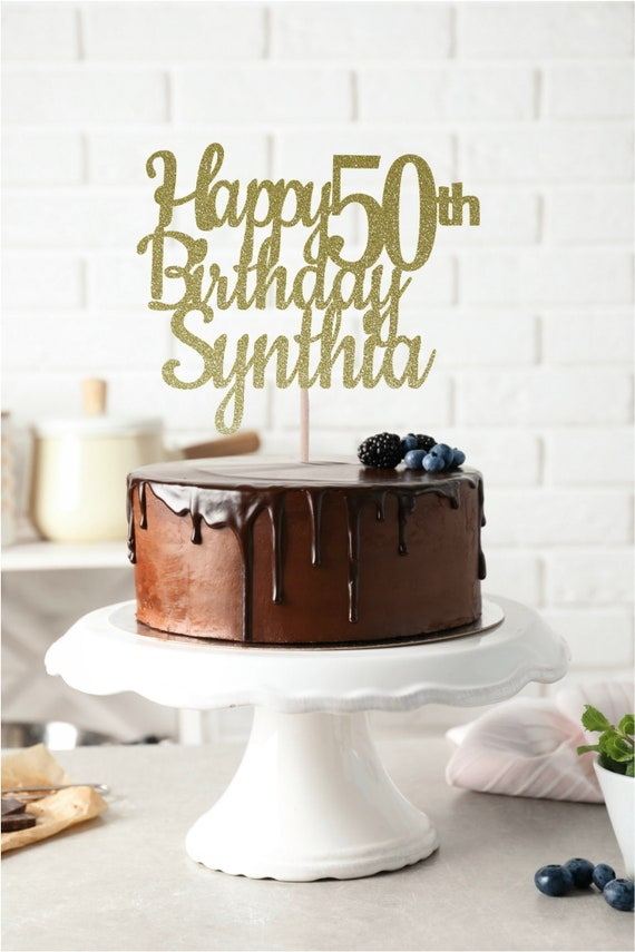 Marvelous Any Name Happy 50Th Birthday Cake Topper Birthday Cake Etsy Personalised Birthday Cards Veneteletsinfo