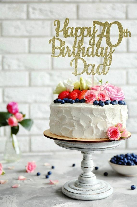 ANY NAME Happy 70th Birthday Cake Topper