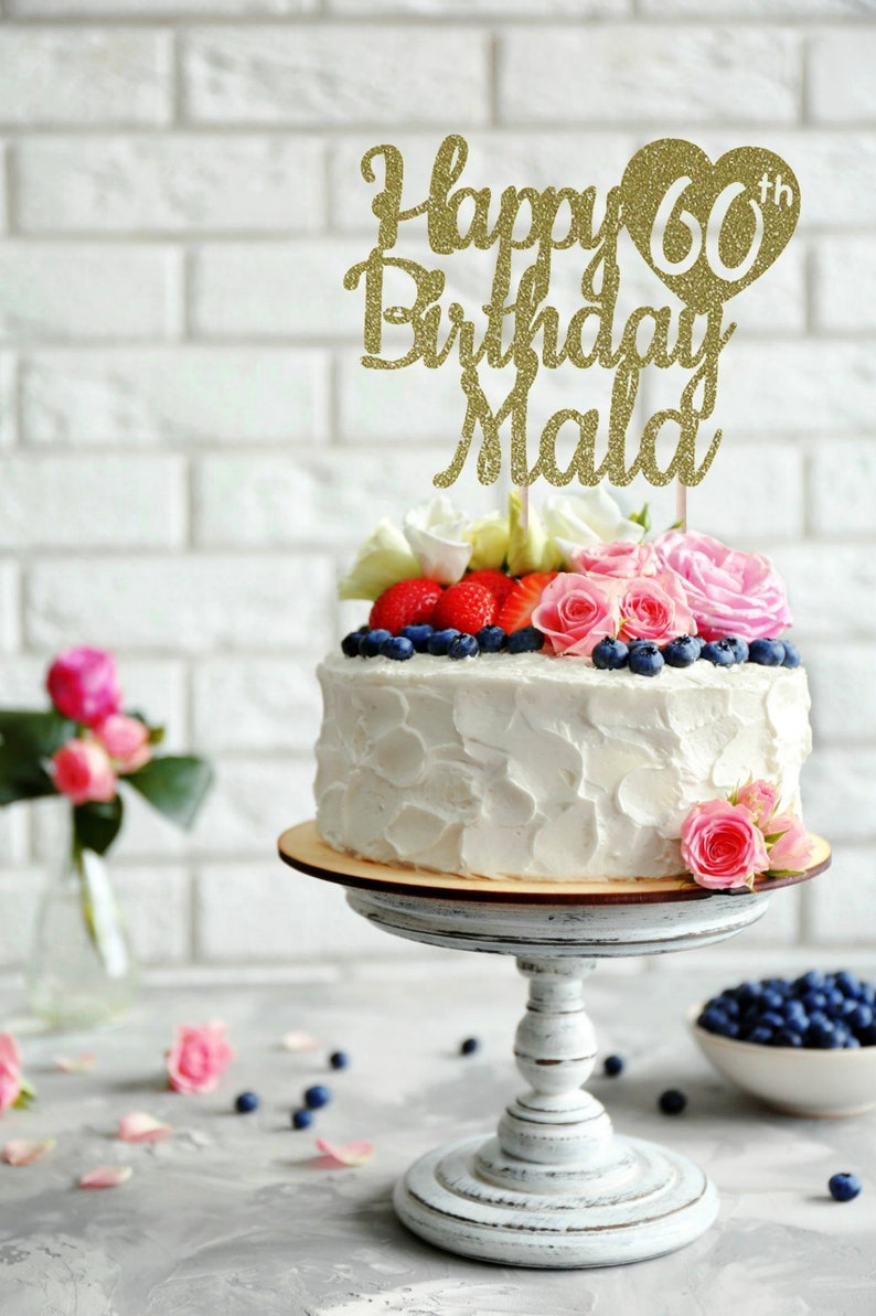 ANY NAME Happy 60th Birthday Cake Topper