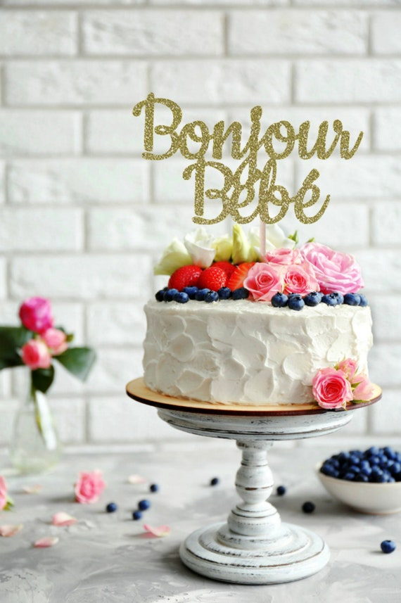 Bonjour Bebe Cake Topper Paris Themed Baby Shower Eiffel Etsy