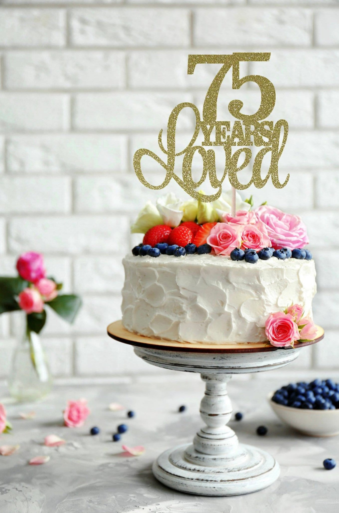 75 Years Loved Cake Topper 75th Birthday Cake Topper Happy ...